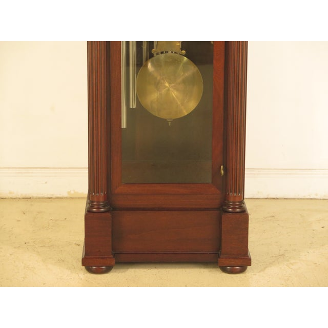 Traditional Vintage Jacques II Tube Mahogany Grandfather Clock For Sale - Image 3 of 11