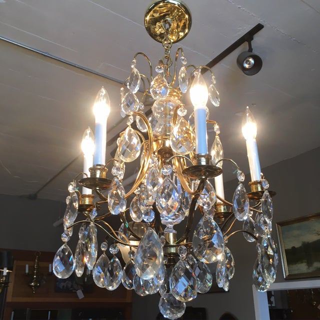 French Mid Century Solid Brass Crystal Marie Therese Style French Chandelier 1950s/60s For Sale - Image 3 of 13