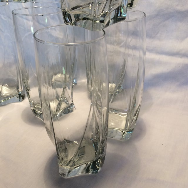 Glass 12 Crystal Square Base Water Glasses For Sale - Image 7 of 11