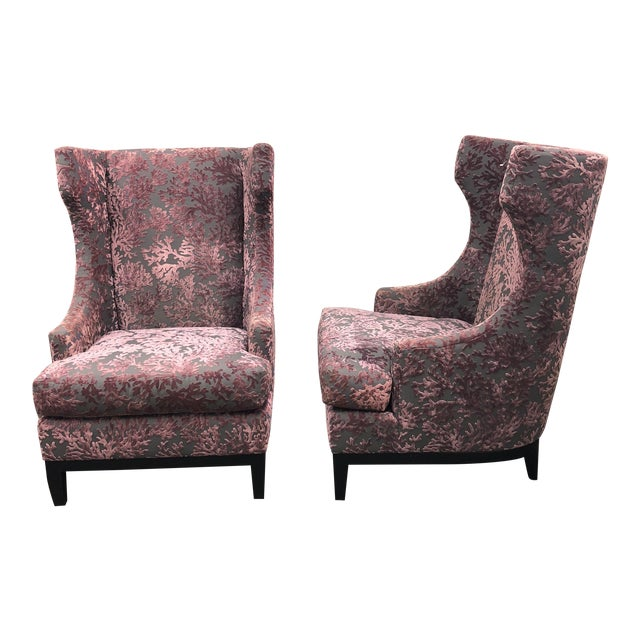 Bernhardt Pascal Contemporary Wingback Chairs - a Pair - Image 1 of 11
