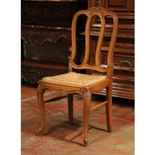 Set of Six Louis XV French Carved Oak Ladder Back Chairs With Rush Woven Seat Preview