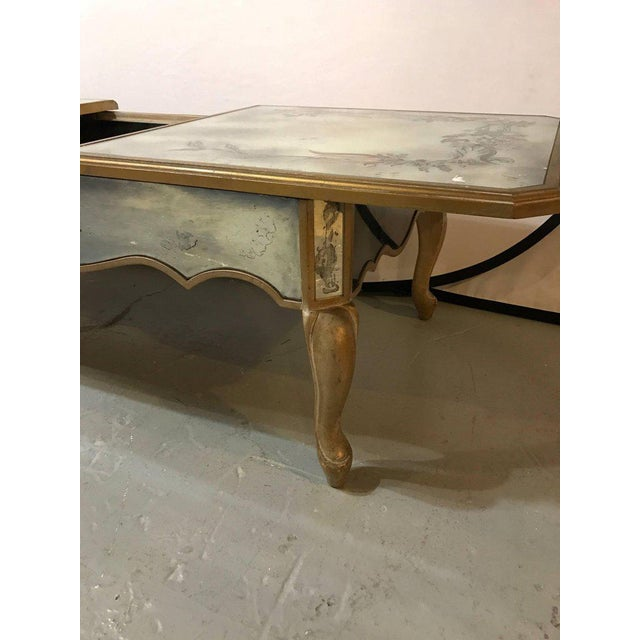 Hollywood Regency Italian Paint Decorated Sliding Mirror Top Coffee Low Table For Sale - Image 10 of 11