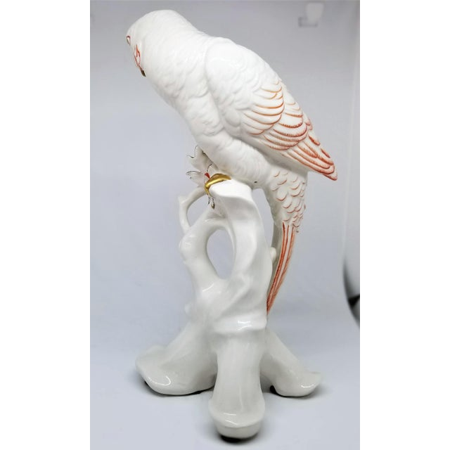 White Rare Large White Porcelain Parrots by Karl Ens - Each Signed - Volkstedt Germany - Art Deco Palm Beach Boho Chic Tropical Coastal For Sale - Image 8 of 12