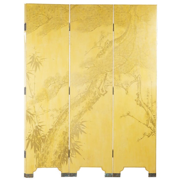 Lawrence & Scott Double-Sided Leather Wisteria Scene 4 Panel Room Divider Screen in Mustard Yellow by Lawrence & Scott For Sale - Image 4 of 6