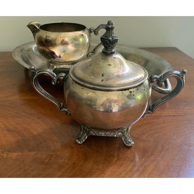 Antique Silver Cream & Sugar Set- 3 Pieces For Sale - Image 10 of 11