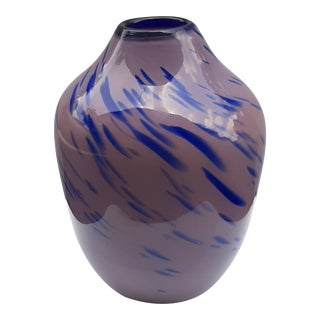 1990s Studio Hand-Blown Art Glass Swirl Vase For Sale