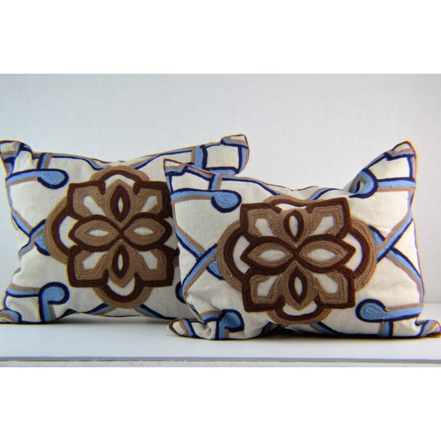 Kim Seybert Crewel Embroidered Throw Pillows - A Pair - Image 2 of 5