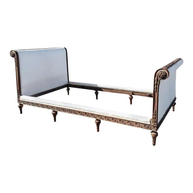 19th Century French Empire Hand Carved Twin Daybed For Sale