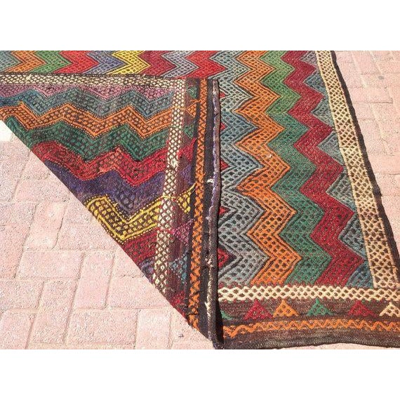 Vintage Turkish Kilim Rug - 6′ × 10′2″ For Sale In Raleigh - Image 6 of 6