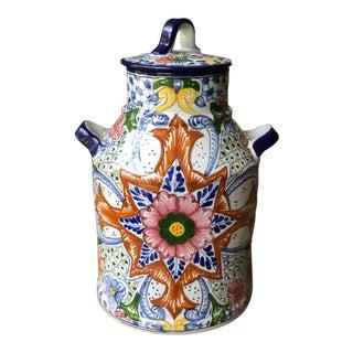 Talavera Mexican Pottery Jug Vase For Sale