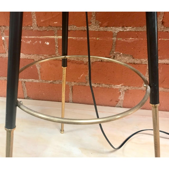 Black Tripod Floor Lamp in Brass and Milk Glass, Italy, 1960s For Sale - Image 8 of 11