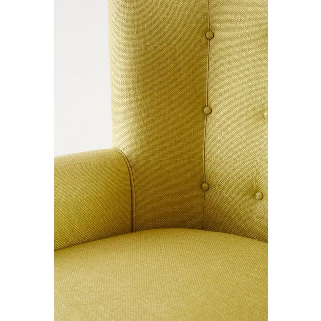 Green Westcott Citron Linen Wing Chair by Bunny Williams For Sale - Image 8 of 13