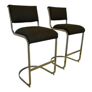 Mid-Century Modern Milo Baughman-Style Brass Tall Bar Stools Pair