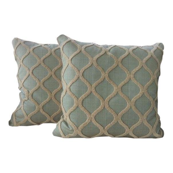 Spa Blue & Cream Linen, Chenille, & Velvet Pillows - a Pair - Image 1 of 4