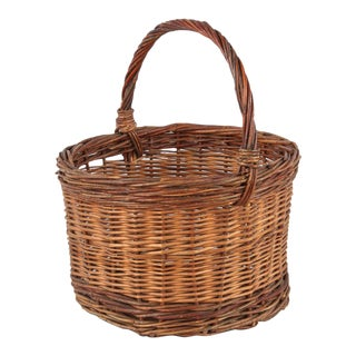 20th Century French Round Wicker Basket For Sale