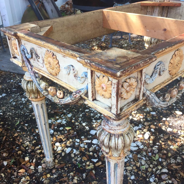 19th Century Italian Marble Top Console Table For Sale In Tampa - Image 6 of 12