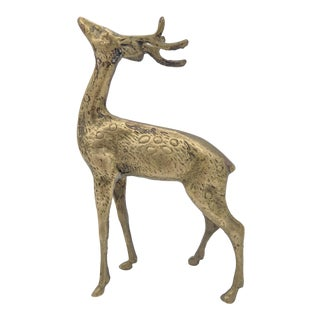 20th Century Art Deco Brass Stag Deer Sculpture For Sale