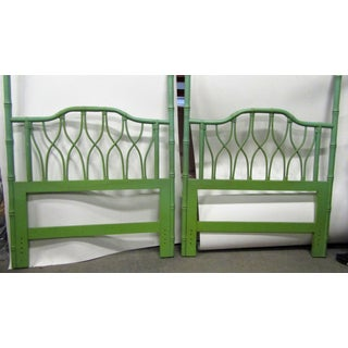 Vintage Boho Chic Green Bamboo/Turned Wood Twin Headboards - a Pair Preview