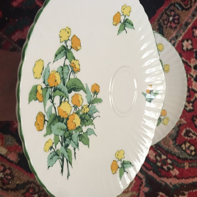 Staffordshire Staffordshire Cornwall Scalloped Teacup Dessert Plates - Set of 4 For Sale - Image 4 of 7
