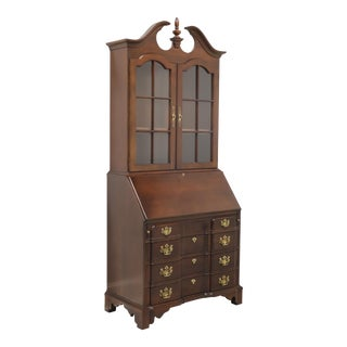 Cherry Chippendale Block Front Secretary Desk by Pennsylvania House For Sale