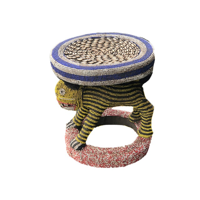 """Lg African Beaded Wood Bamileke Stool /Table Cameroon 18.25'""""h For Sale - Image 9 of 9"""