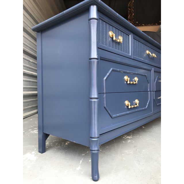 Blue Faux Bamboo Broyhill Newly Lacquered Dresser For Sale - Image 8 of 11