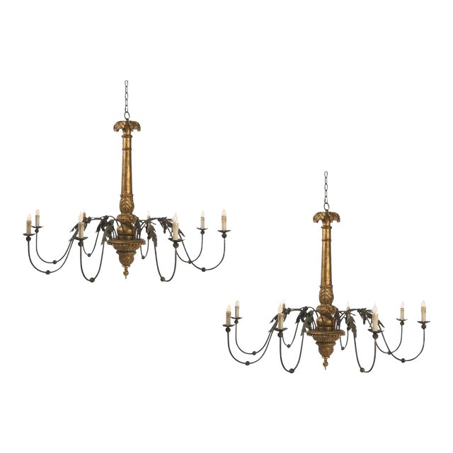Early 20th Century Two Giltwood and Tole Eight-Arm Chandeliers of Large Scale For Sale - Image 5 of 5