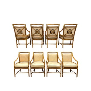 1980s Vintage McGuire Target Back Dining Chairs - Set of 8 For Sale