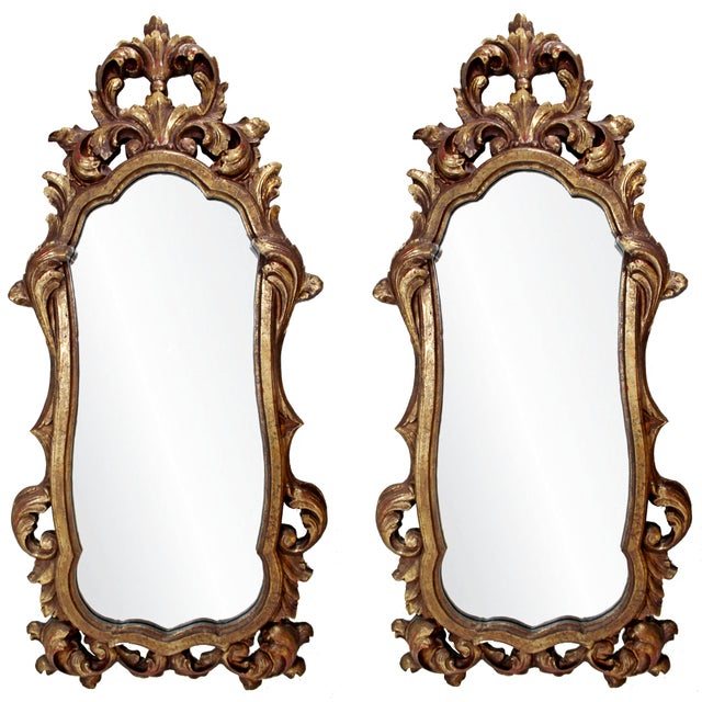 Early 20th Century Rococo Hollywood Regency Style Gold Gilt Leaf Hanging Wall Mirrors - a Pair For Sale - Image 5 of 5