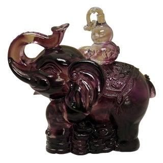 Purple Liuli Crystal Glass Pate-de-verre Elephant Figure For Sale