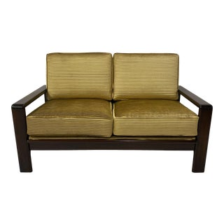 Danish Rosewood Frame Loveseat in Pleated Velvet For Sale
