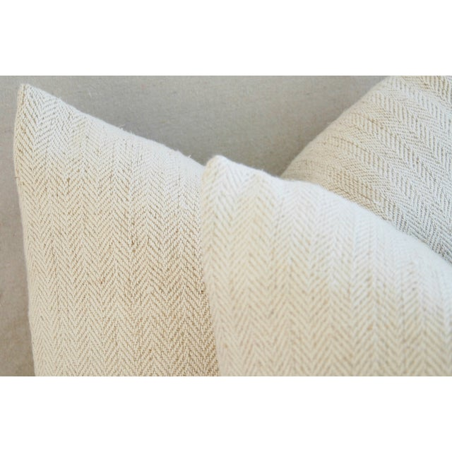 French Grain Sack Down & Feather Pillows - A Pair - Image 9 of 10