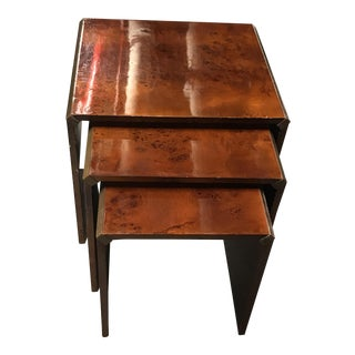 Parsons Burled Wood Stacked Side Tables - Set of 3