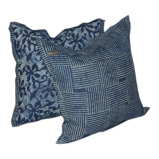 Perennial Periwinkle Mud Print Pillows - a Pair