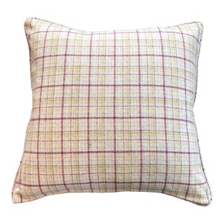 Spring British Wool Plaid Pillow With Piping For Sale