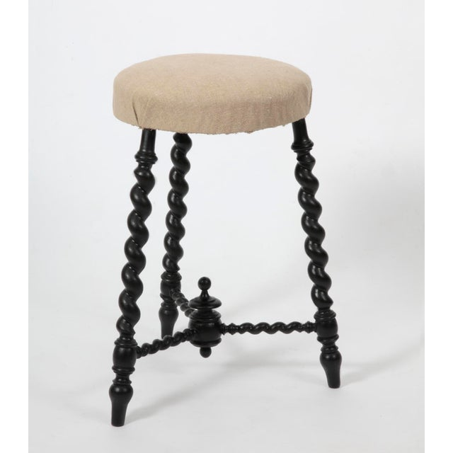 1900 - 1909 Early 20th Century Antique Barley Twist Legged Stool For Sale - Image 5 of 5