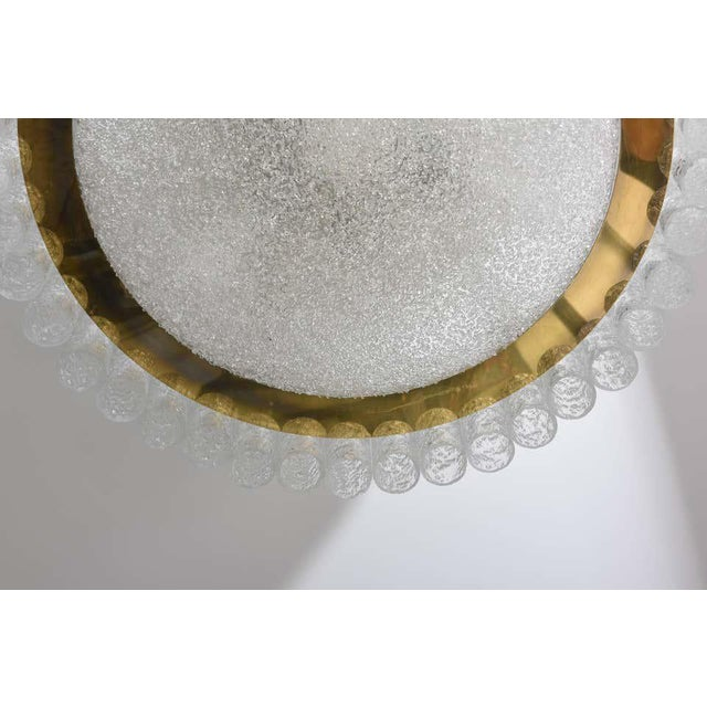 Flush-Mount Eisglas and Brass Chandelier by Doria Leuchten For Sale In West Palm - Image 6 of 13