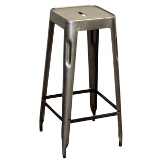 Industrial Gray Metal Stool For Sale
