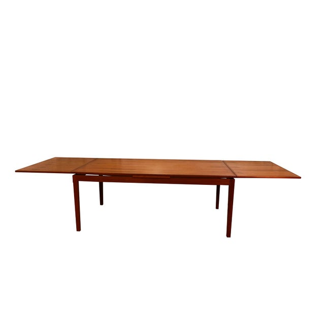 Danish Modern Danish Teak Extra Large Expanding Dining Table With 2 Leaves For Sale - Image 3 of 9