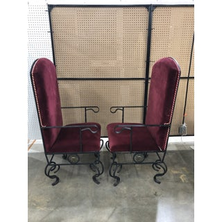 1980s Vintage Wrought Iron Removable Cushion Side Chairs- a Pair Preview