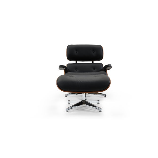Pasargad's Florence Black Leather Lounge Chair & Ottoman For Sale - Image 9 of 10
