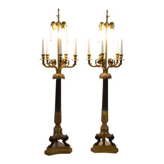 Egyptian Revival Candlestick Table Lamps - a Pair For Sale