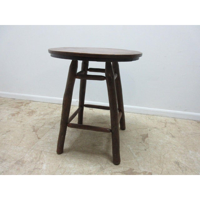 Mid Century Modern Antique Old Hickory Adirondack Tiger Oak Side Table For Image