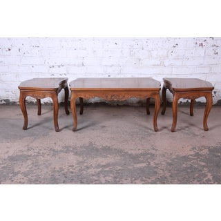 Baker Furniture French Carved Burl Wood Coffee Table and End Tables, 3 Piece Set Preview