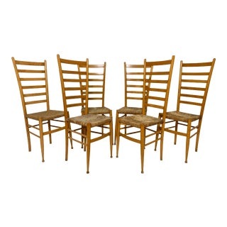 After Gio Pointi Italian Ladder Back Dining Chairs - Set of 6 For Sale
