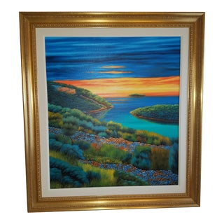 """Mia Mustpic """"Sunset"""" Framed Painting For Sale"""