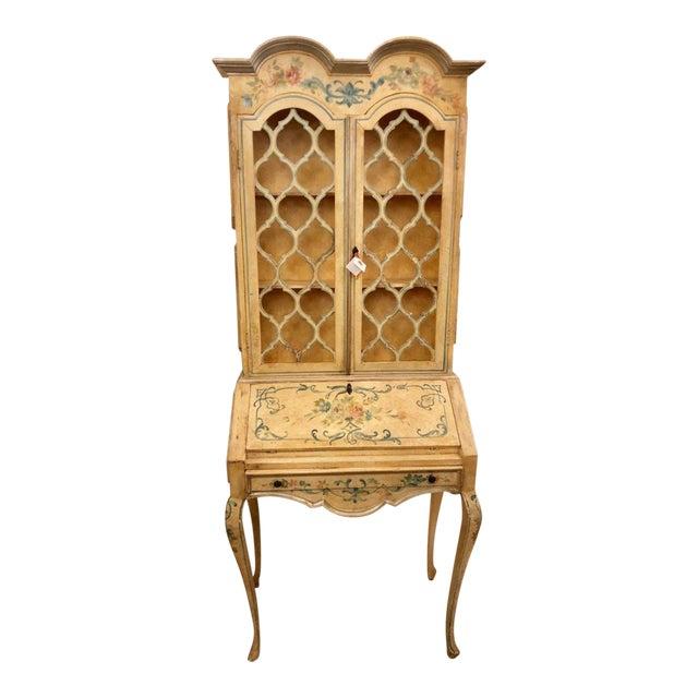 Antique Italian Paint Decorated Secretary Desk For Sale