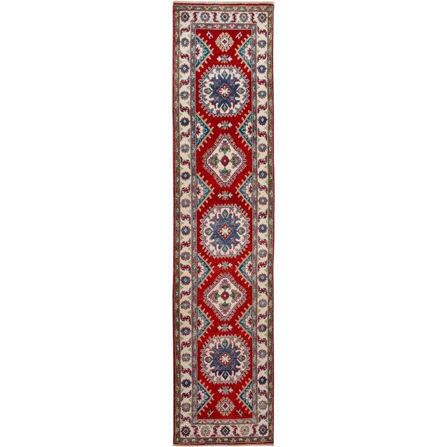 "White Kazak Garish Zane Red Ivory Wool Rug - 2'"" x 9'9"" For Sale - Image 8 of 8"