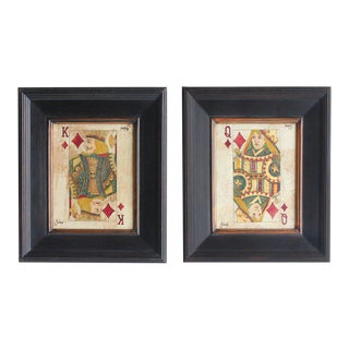 Folk Art Queen & King Game Cards Oil Paintings - A Pair