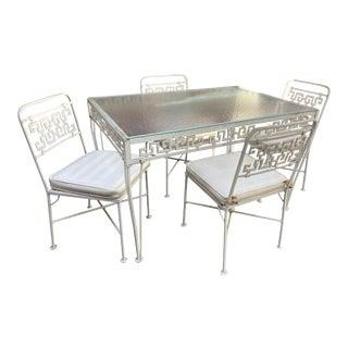 1950s Aluminum Greek Key Patio Set - Set of 5 For Sale